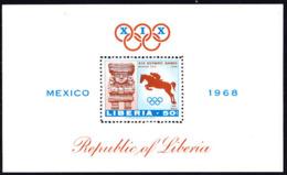 LIBERIA (1968) Ancient Sculpture. Steeplechase. Perforate S/S. Scott No C181, Yvert No PA44. Mexico Olympics. - Liberia