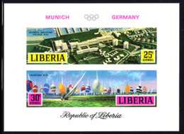 LIBERIA (1971) Olympic Village. Regatta. Imperforate S/S. Scott No C187, Yvert No BF54. Munich Olympics. - Liberia