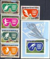 UPPER VOLTA (1976) Innsbruck Olympics. Set Of 5 Imperforates And Imperf S/S. Scott Nos 384-6,C225-7. - Alto Volta (1958-1984)