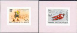 NIGER (1976) Innsbruck Olympics. Set Of 5 Imperforate Minisheets. Scott Nos 347-9,C266-7. Yvert Nos 352-4,PA263-4. - Niger (1960-...)