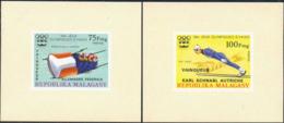MADAGASCAR (1976) Innsbruck Olympics (overprinted Winners). Set Of 5 Imperforate Minisheets. Scott Nos 561-3,C161-2 - Madagaskar (1960-...)