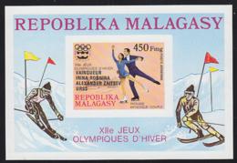 MADAGASCAR (1976) Innsbruck Olympics. Imperforate S/S Overprinted With Winner's Names. Scott No C163. - Madagaskar (1960-...)
