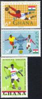 "GHANA (1965) Soccer Players. Set Of 3 Overprinted ""SPECIMEN"". African Soccer Cup. Scott Nos 213-5, Yvert Nos 222-4. - Ghana (1957-...)"