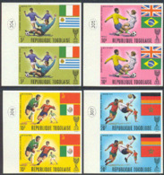 TOGO (1970) World Cup Soccer. Set Of 8 Imperforate Pairs (also Available As Blocks Of 4). Scott Nos 730-4,C130-2. - Togo (1960-...)