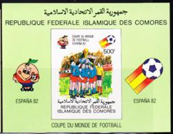 COMORO ISLANDS (1981) Espana 1982 Cup. Imperforate Minisheet. Scott No 246, Yvert No BF29. - Komoren (1975-...)