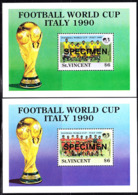 ST. VINCENT (1990) World Cup Italy 1990. Set Of 2 S/S Overprinted SPECIMEN. Scott Nos 1342-3 - St.Vincent (1979-...)