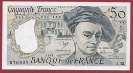 """50 Francs """"Quentin De La Tour """" ---1988-----AU -UNC/SPL---ALPH .U.52---AUCUN TROU D EPINGLE  -BILLET MAGNIFIQUE - 1962-1997 ''Francs''"""