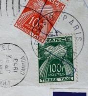 Lettre Taxée En France 100f+10fr X 3 +5fr Charlottetown Canada Amérique 1952-.... Règne D'Elizabeth II-Lettre & Document - 1952-.... Règne D'Elizabeth II