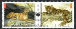 Sc. # 2466 & 67 Big Cats Joint Cda./China Issue Se-Ten.Pair Used 2005 K666 - 1952-.... Regering Van Elizabeth II