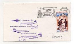 LETTRE - CONCORDE - CACHET DE LA POSTE BLAGNAC - CACHET 10éme ANNIVERSAIRE DU TRAITE FRANCO-ANGLAIS DE DEVELOPPEMENT - - Marcofilia (sobres)
