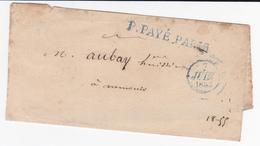 PSC De Paris (75) Pour Nemours (77) - 7 Juin 1832 - CAD Rond Type Dateur A Bleu & Noir - ML P.PAYE PARIS Bleu - TM 9 - 1801-1848: Voorlopers XIX