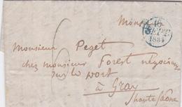 LAC De Paris (75) Pour Gray (70) - 16 Septembre 1834 - CAD Rond Type Dateur A Bleu & 11 - Taxe Manuelle 6 Bleu - 1801-1848: Precursori XIX