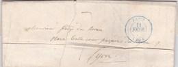LAC De Paris (75) Pour Lyon (69) - 11 Février 1840 - CAD Rond Type 14 & 15 - Taxe Manuelle 7 - 1801-1848: Precursori XIX