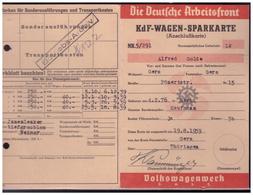 Dt.-Reich (005272) KDF- Wagen- Sparkarte (Käfer), Die Deutsche Arbeitsfront, Ausgestellt Am 19.8.1939, Aktengelocht - Germania