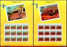 Ref. BR-V2019-64-F BRAZIL 2019 - DINOSAURS IN CRUZEIRO, DO OESTE - PR, PERSONALIZED SHEETS MNH, PREHISTORIC ANIMALS 24V - Brasilien