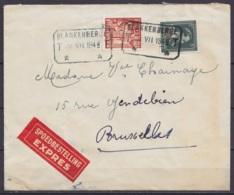 L. EXPRES Affr. N°724T+762 Càd CdF [BLANKENBERGHE /28 VII 1948] Pour BRUXELLES - 1946 -10%