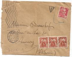 GANDON 5FR ROSE NEUF MENTION NUL LETTRE MAL OUVERTE PARIS 9.IV.1947 POUR ANNECY TAXE 3FR GERBES BANDE DE 3 11.4.1947 - 1945-54 Marianne De Gandon