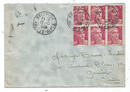 GANDON 3FR LILAS BLOC DE 6 LETTRE BRIANCON 16.11.1948 POUR SUISSE    AU TARIF - 1945-54 Marianne De Gandon