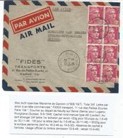 GANDON 3FR LILAS BLOC DE 8 LETTRE AVION NEUILLY 1..1948 POUR SUISSE AU TARIF - 1945-54 Marianne De Gandon