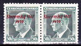 Slovaquie 1939 Mi 9 (Yv 8), MNH)** Paire - Nuovi