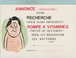 """CPM:  Humour Coquin :  Série """"ANNONCE""""  N°598 / 5  (Dame RECHERCHE Pour Mari Déficient)   (F1318) - Humor"""