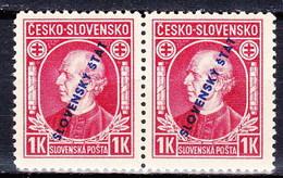 Slovaquie 1939 Mi 25 (Yv 31), MNH)** Paire - Nuovi