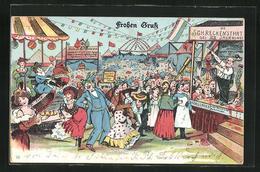 Lithographie Lärmendes Volk Vergnügt Sich Auf Dem Volksfest - Feiern & Feste