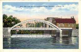 MILL AND DAM ON COTTONWOOD RIVER ,EMPORIA , KANSAS  RV - Stati Uniti