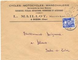 CYCLES – MOTOCYCLES – MARÉCHALERIE OIZON CHER TàD RECETTE-DISTRIBUTION Du 17-4-1953 - Marcophilie (Lettres)