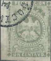 """Venezuela , 1864 Eagle-Value In """"CENTAVO""""-1C Gray  Imperforated  Used,Rare,Value Over €400,00 - Venezuela"""