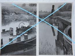 Photosx2 Péniches Coulées Mai 1940 France Barge Binnenscheepvaart Canal Guerre - Bateaux