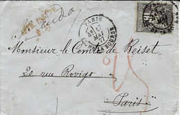 1877- Env. Carte De Visite De Paris Pour Paris,réexpédition TAXEE 25 C Crayon Rouge, Puis 25 Crayon Bleu Au Dos - Postmark Collection (Covers)