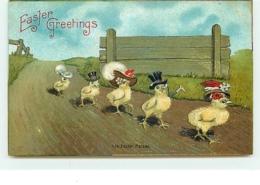 Carte Gaufrée - Easter Greetings - Poussins Habillés - Pâques