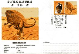 Entier Speciale, Roumanie, 2012, Animaux Prehistoriques, Dinosaurus A To Z, Becklespinax - Stamps