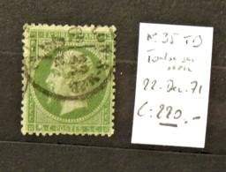 05 - 20 // France N° 35 Vert Sur Bleu - TB - Oblitéré Toulon Sur Mer - 22 Decembre 1871 - Cote : 220 Euros - 1870 Siège De Paris