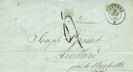 1859 - Lettre De PAYERNE ( Canton De Vaud ) Pour Arvillars ( Royaume De Savoie ) Taxe 4 D Iampon Sarde - Lettres & Documents