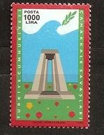 Turquie 1990 N° 2625 ** Monument Commémoratif, Colombe, Bataille Des Dardanelles, WW1, Empire Ottoman Mines Débarquement - 1921-... Republic