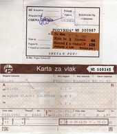 Ticket - Train Ticket - Railway - Osijek / Zagreb ,Croatia - Europe