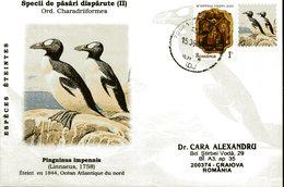 Envelope Speciale, 2011, Roumanie, Especes Eteintes, Pinguinus Impennis - Stamps