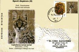 Envelope Speciale, 2011, Roumanie, Especes Eteintes, Leptailurus Serval Serval, Serval Sud-africain - Stamps