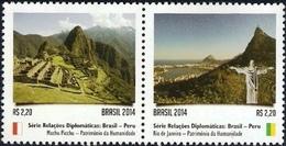 BRAZIL 2014  -  BRAZIL AND PERU -  HUMANITY's HERITAGE  - PAIR  MNH - Brasilien