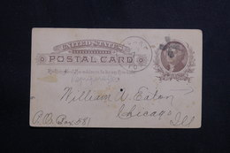 ETATS UNIS - Entier Postal Commercial ( Repiquage Au Verso ) De Stuart En 1886 Pour Chicago - L 61128 - ...-1900