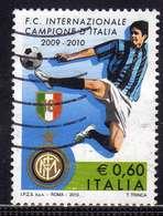 ITALIA REPUBBLICA ITALY REPUBLIC 2009 2010 CAMPIONATO DI CALCIO LO SCUDETTO ALL'INTER USATO USED OBLITERE' - 6. 1946-.. Repubblica