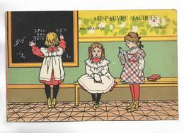 """Carte Fantaisie  Publicitaire """" Au Pauvre Jacques, Nouveautés, Paris """" - Publicidad"""