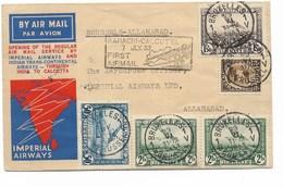 SH 0512. PA 1-2-3(2)-TP 341 BRUXELLES 1 - 29.VI.1933 S/L. Imperial Airways BRUSSELS-ALLAHABAD. Vdb 111. TB - Storia Postale