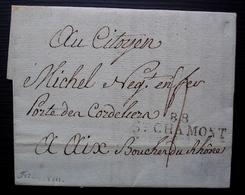 88/ St CHAMONT 27 Frimaire L'an VIII (18 Décembre 1799) Lettre Pour Aix Bouches Du Rhône - Storia Postale
