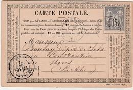 Carte Précurseur 1876 / Cachet Montfort Le Rotrou (Gesnois) 79 Sarthe / Commande Sels Gris à Boulay Le Mans /allumettes - Mapas