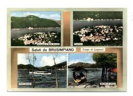 C3607 SALUTI DA BRUSIMPIANO PANORAMA PORTO CERESIO, BARCHE DA PESCA ACQUARELLATA VG 1964 - ED. GATTI & VANONI - Italia