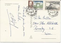 CARTE POSTALE 1967 POUR LA SUISSE AVEC CACHET HEXAGONAL D'AGENCE POSTALE ILE GRANDE COTES DU NORD - Marcophilie (Lettres)