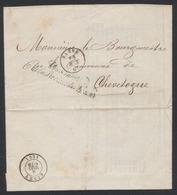 LAC Imprimée Du Gouverneur De La Province De Namur (1861) > Bourgmestre De Chevetogne + Cachet D'arrivée Ciney - Franchise